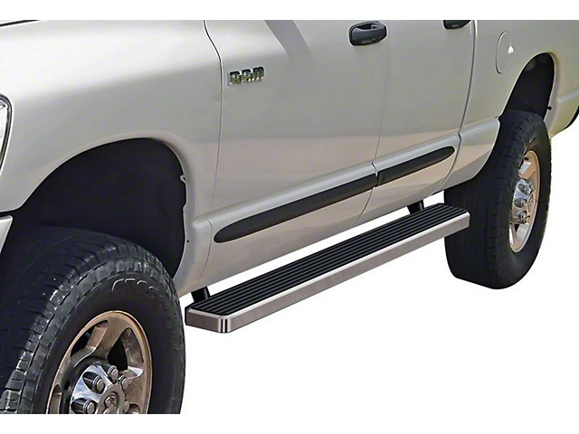 4-Inch iStep Running Boards; Hairline Silver (02-08 RAM 1500 Quad Cab)