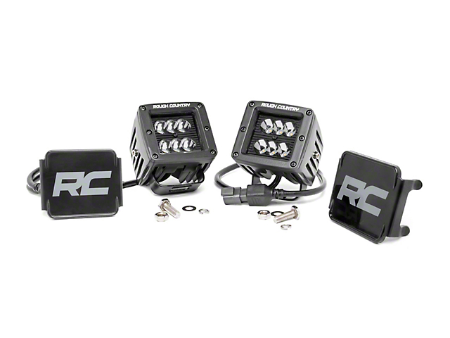 Rough Country 2 in. Black Series LED Cube Lights - Spot Beam - Pair