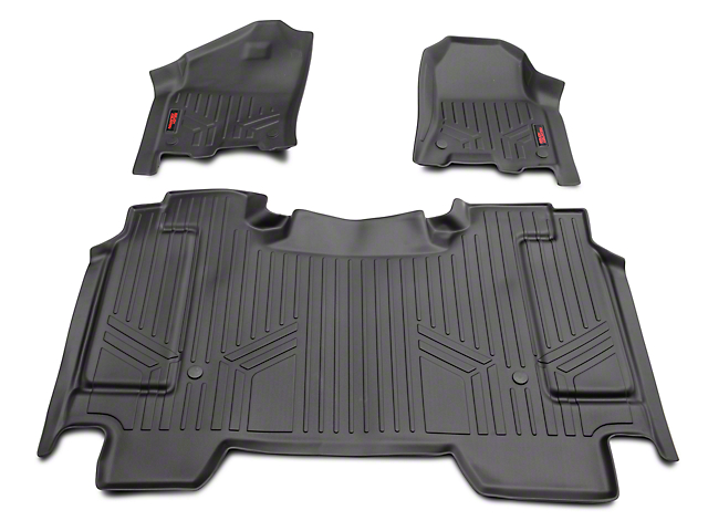 Rough Country Heavy Duty Front and Rear Floor Mats; Black (19-20 RAM 1500 Crew Cab w/o Fctory Under Seat Storage)