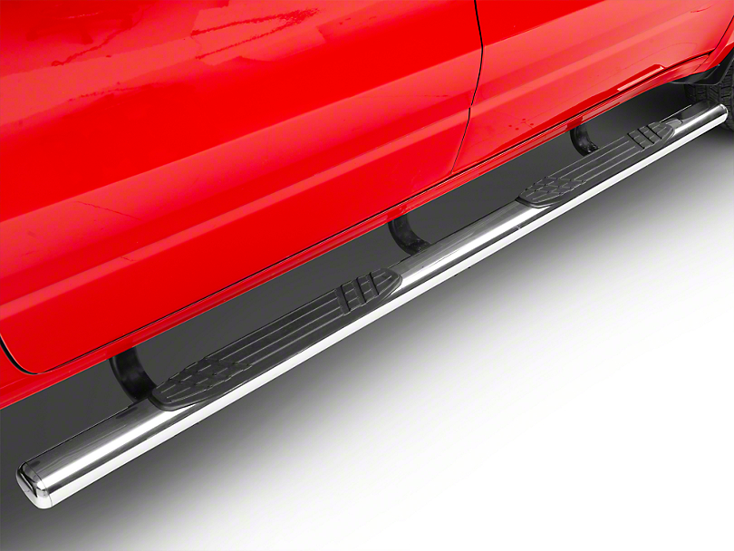 Go Rhino 4 in. 1000 Series Cab Length Side Step Bars - Stainless Steel (2019 RAM 1500 Crew Cab)