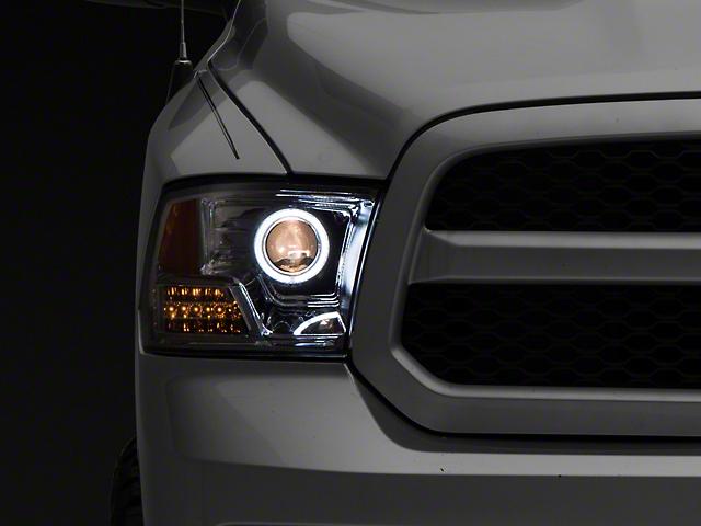 Raxiom Super White LED Halo Projector Headlights; Chrome Housing; Clear Lens (09-18 RAM 1500 w/o Projector Headlights)