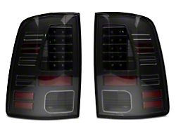 LED Tail Lights; All Black Housing; Clear Lens (13-18 RAM 1500 w/ Factory LED Tail Lights)