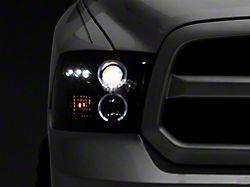 LED Halo Projector Headlights; Gloss Black Housing; Smoked Lens (09-18 RAM 1500 w/o Projector Headlights)