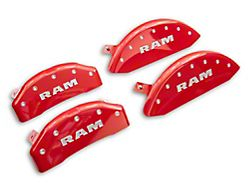 MGP Red Caliper Covers with RAM Logo; Front and Rear (19-21 RAM 1500 w/ Standard Rear Caliper)