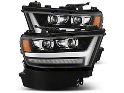PRO-Series Projector Headlights; Jet Black Housing; Clear Lens (19-21 RAM 1500 w/ Factory LED Headlights)