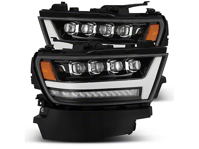 NOVA-Series LED Projector Headlights; Jet Black Housing; Clear Lens (19-21 RAM 1500 w/ Factory LED Headlights)