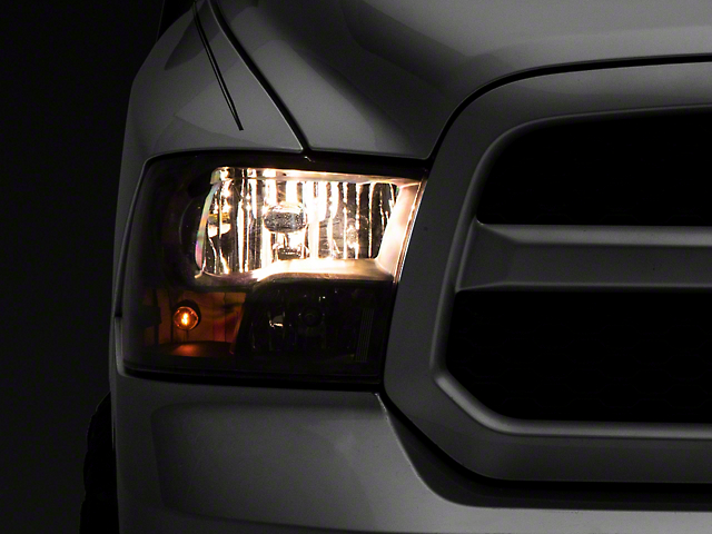 Headlights with Amber Corner Lights; Black Housing; Clear Lens (09-18 RAM 1500 w/o Factory Projector Headlights)