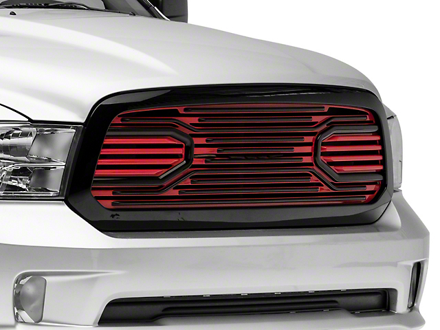 RedRock 4x4 Big Horn Style Upper Replacement Grille; Black and Red (13-18 RAM 1500, Excluding Rebel)