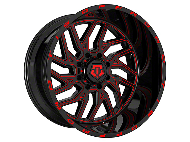 TIS 544BMR Gloss Black with Red Tint Accent 6-Lug Wheel; 22x12; -44mm Offset (16-21 Tacoma)