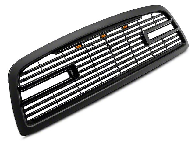 RedRock 4x4 Boss Upper Replacement Grille with LED DRL; Matte Black (09-12 RAM 1500)