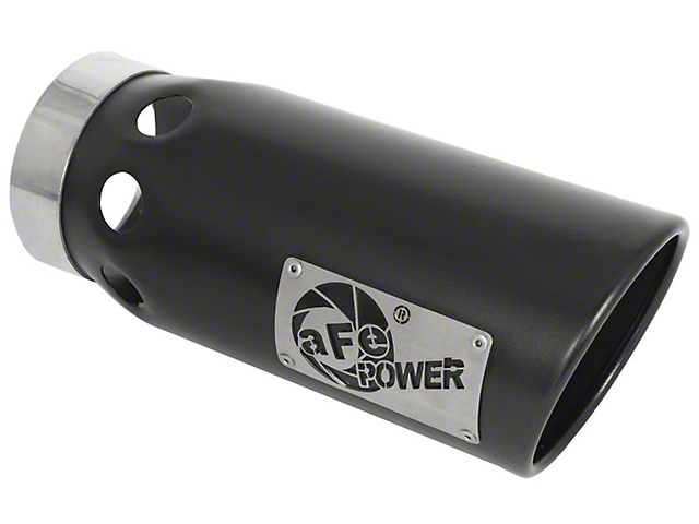 AFE 5-Inch MACH Force-XP 409 Stainless Steel Exhaust Tip; Black; Passenger Side (Fits 4-Inch Tailpipe)