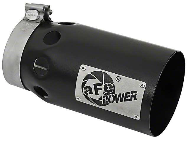 AFE 5-Inch Rebel XD Series 409 Stainless Steel Exhaust Tip; Black; Passenger Side (Fits 4-Inch Tailpipe)