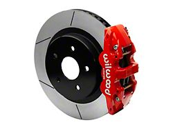 Wilwood AERO4 Rear Big Brake Kit with 15-Inch Slotted Rotors; Red Calipers (13-18 RAM 1500)