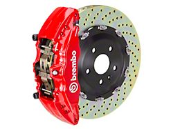 Brembo GT Series 6-Piston Front Big Brake Kit with 15-Inch 2-Piece Cross Drilled Rotors; Red Calipers (04-08 RAM 1500)