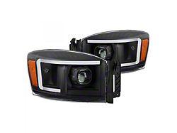 Light Bar DRL Projector Headlights; Black Housing; Clear Lens (06-08 RAM 1500)