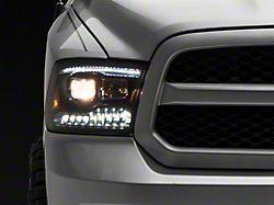 Light Bar Style Projector Headlights; Black Housing; Clear Lens (09-18 RAM 1500 w/o Factory Projector Headlights)