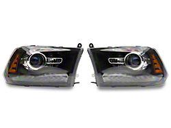 OE Style Headlights; Black Housing; Clear Lens (13-18 RAM 1500 w/ Factory Projector Headlights)