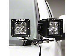 ZRoadz Four 3-Inch LED Pod Lights with Hood Hinge Mounting Brackets (19-21 RAM 1500)