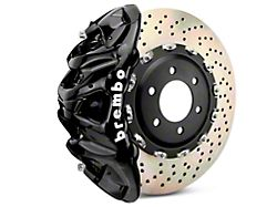 Brembo GT Series 8-Piston Front Big Brake Kit with 2-Piece Cross Drilled Rotors; Black Calipers (07-18 Silverado 1500)