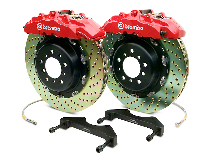 Brembo GT Series 8-Piston Front Big Brake Kit w/ 2-Piece Cross Drilled Rotors - Red Calipers (07-18 Silverado 1500)