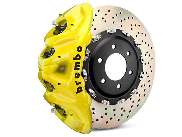 Brembo GT Series 8-Piston Front Brake Kit - 2-Piece Cross Drilled Rotors - Yellow (07-18 Silverado 1500)