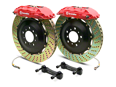 Brembo GT Series 4-Piston Rear Brake Kit - 2-Piece Cross Drilled Rotors - Red (07-13 Silverado 1500)