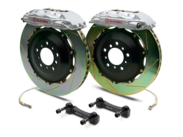 Brembo GT Series 4-Piston Rear Big Brake Kit with 2-Piece Slotted Rotors; Silver Calipers (07-13 Silverado 1500)