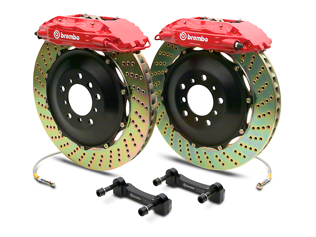 Brembo GT Series 4-Piston Rear Big Brake Kit with 2-Piece Cross Drilled Rotors; Red Calipers (14-18 Silverado 1500)