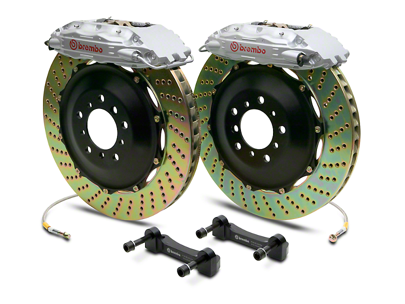 Brembo GT Series 4-Piston Rear Big Brake Kit w/ 2-Piece Cross Drilled Rotors; Silver Calipers (14-18 Silverado 1500)