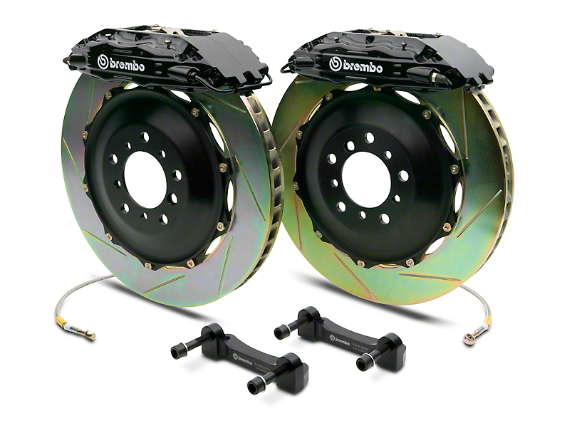 Brembo GT Series 4-Piston Rear Big Brake Kit w/ 2-Piece Slotted Rotors - Black Calipers (14-18 Silverado 1500)