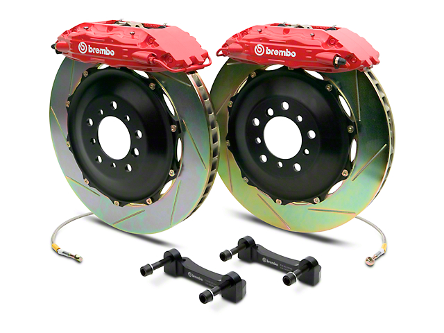 Brembo GT Series 4-Piston Rear Big Brake Kit with 2-Piece Slotted Rotors; Red Calipers (14-18 Silverado 1500)