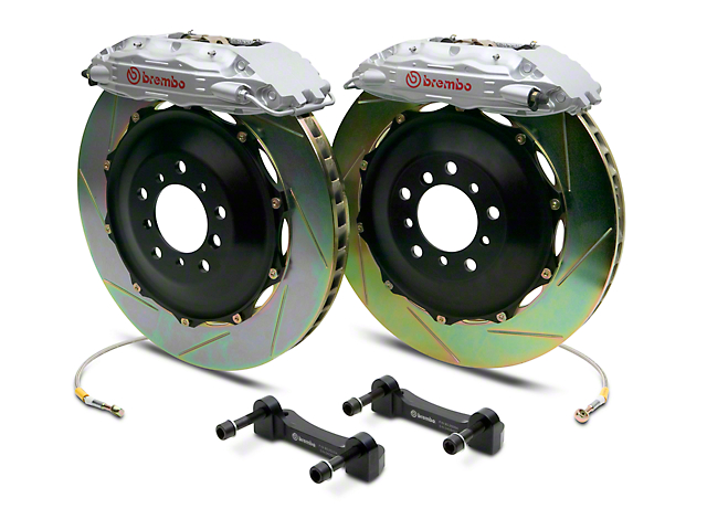 Brembo GT Series 4-Piston Rear Big Brake Kit with 2-Piece Slotted Rotors; Silver Calipers (14-18 Silverado 1500)