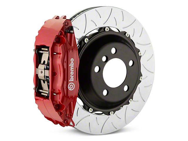 Brembo GT Series 4-Piston Rear Big Brake Kit with Type 3 Slotted Rotors; Red Calipers (14-18 Silverado 1500)