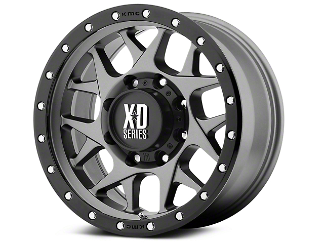 XD Bully Matte Gray w/ Black Ring 6-Lug Wheel; 20x9 (99-20 Silverado 1500)
