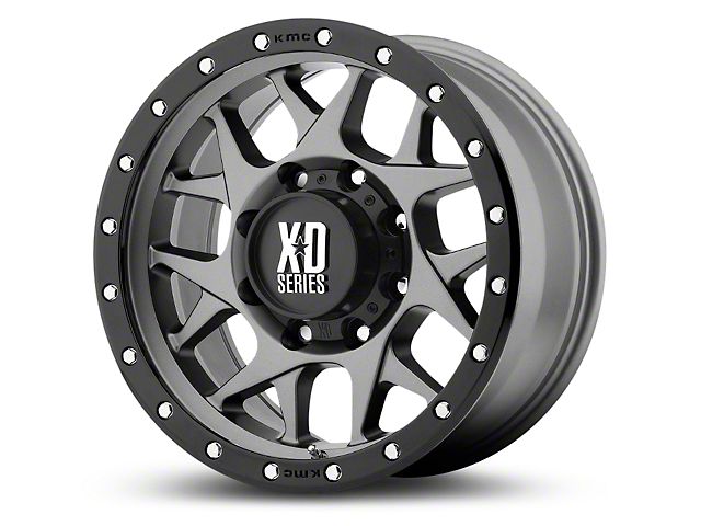 XD Bully Matte Gray with Black Ring 6-Lug Wheel; 17x9; -12mm Offset (14-18 Silverado 1500)