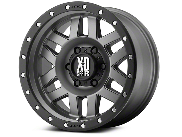 XD Machete Matte Gray w/ Black Ring 6-Lug Wheel; 18x9 (99-20 Silverado 1500)