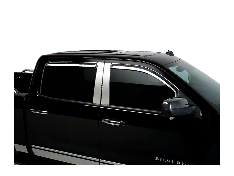 Putco Chrome Element Window Visors - Channel Mount - Front Only (14-18 Silverado 1500 Double Cab, Crew Cab)