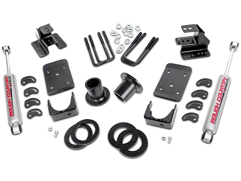 Rough Country Lowering Kit - 1-2 in. Front / 4 in. Rear (07-13 2WD Silverado 1500)