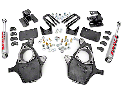 Rough Country Spindle Lowering Kit - 2 in. Front / 4 in. Rear (07-13 2WD Silverado 1500)