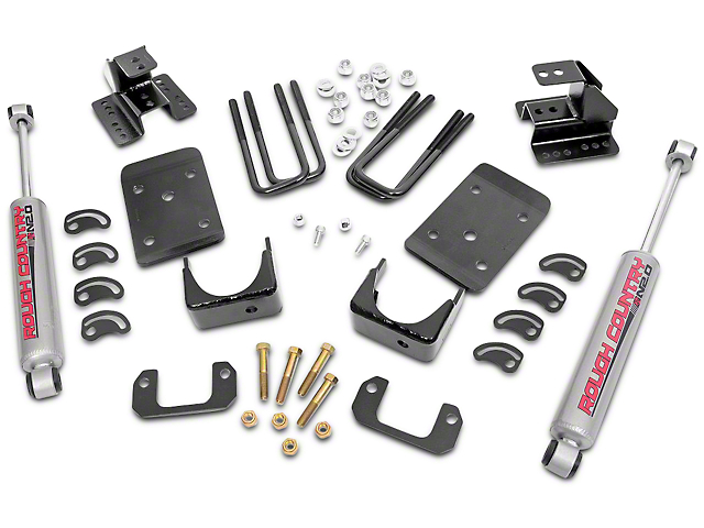Rough Country Lowering Kit; 2-Inch Front / 4-Inch Rear (07-15 2WD Silverado 1500, Excluding 6.2L)