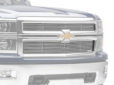 Putco Liquid Billet Upper Replacement Grilles w/ Logo Cutout - Polished (14-15 Silverado 1500 High Country, LTZ)