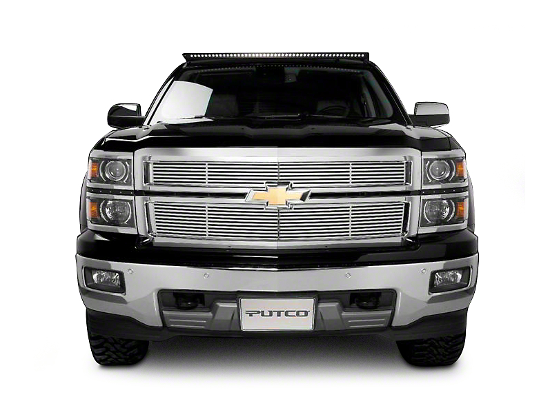 Putco Liquid Billet Upper Replacement Grilles w/ Logo Cutout - Polished (14-15 Silverado 1500 w/ Z71 Package)