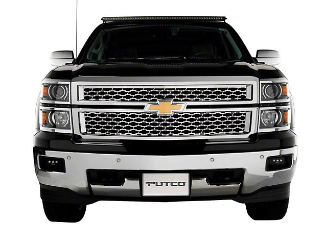 Putco Bowtie Mesh Upper Replacement Grilles - Polished (14-15 Silverado 1500 w/ Z71 Package)