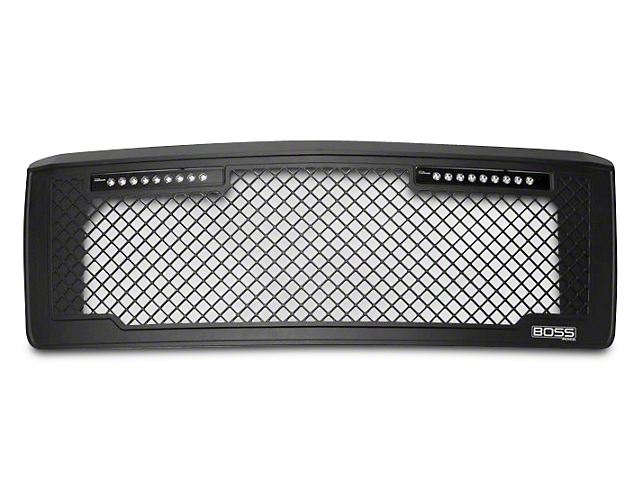 Boss Mesh Upper Replacement Grille w/ Two 10 in. LED Light Bars - Black (14-15 Silverado 1500)