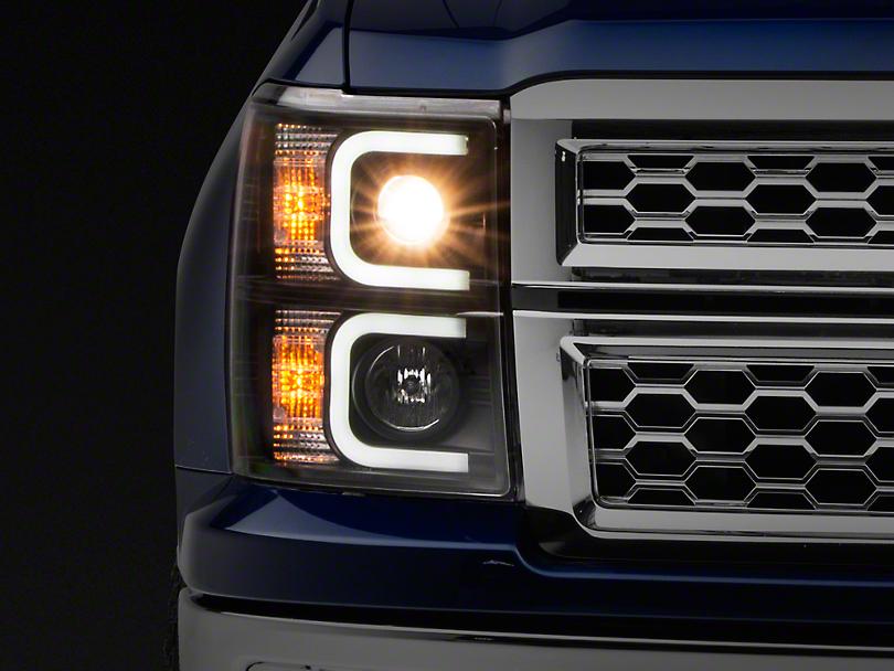 Axial Black Projector Headlights w/ Light Bar Daytime Running Lights (14-15 Silverado 1500)
