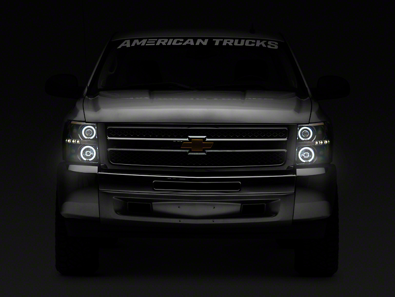Black Projector Headlights w/ LED Halos & Daytime Running Lights - Smoked Lens (07-13 Silverado 1500)