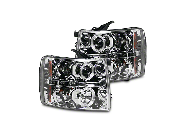 Chrome Projector Headlights w/ LED Halos & Daytime Running Lights - Clear Lens (07-13 Silverado 1500)