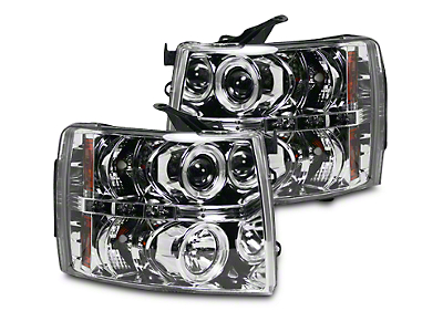 Recon Chrome Projector Headlights w/ LED Halos & Daytime Running Lights - Clear Lens (07-13 Silverado 1500)