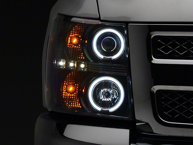 Recon Black Projector Headlights w/ CCFL Halos & Daytime Running Lights - Smoked Lens (07-13 Silverado 1500)