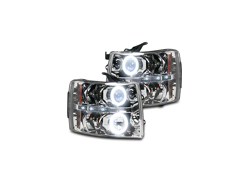 Chrome Projector Headlights w/ CCFL Halos & Daytime Running Lights - Clear Lens (07-13 Silverado 1500)